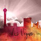 Las Vegas | Stadt Skyline | Buntes Aquarell von PraiseQuotes