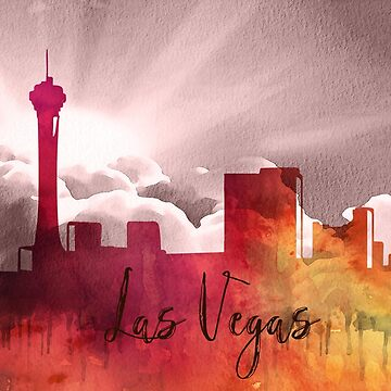 Las Vegas | CIty Skyline | Colorful Watercolor by PraiseQuotes