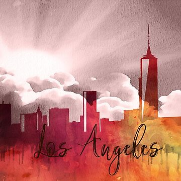 Los Angeles | CIty Skyline | Colorful Watercolor by PraiseQuotes