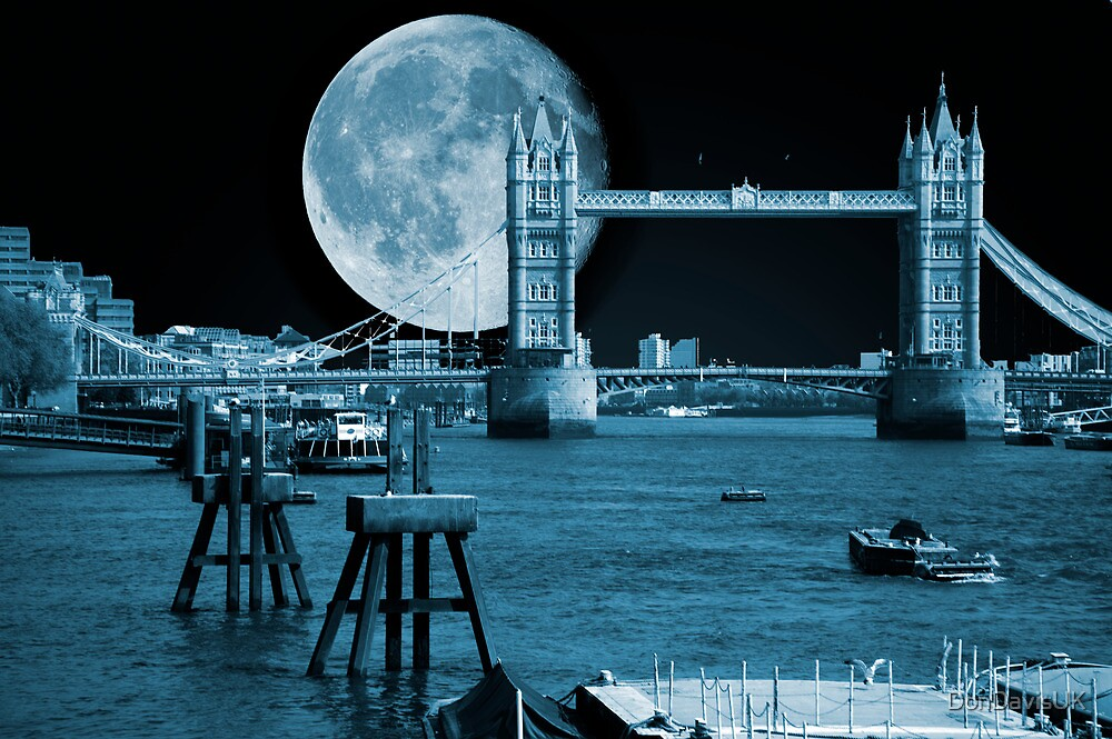 Blue Moon: Tower Bridge London UK by DonDavisUK