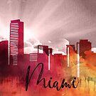 Miami | Stadt Skyline | Buntes Aquarell von PraiseQuotes