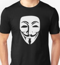 Anonymous Guy Fawkes White Mask Face Unisex T-Shirt