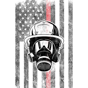 Firefighter mask American Flag Thin Red Line Firefighter Shirt by we1000