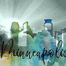 Minneapolis | Stadt Skyline | Buntes Aquarell von PraiseQuotes