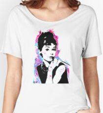 Audrey Hepburn - Street art - Watercolor - Popart style - Andy Warhol Jonny2may Women's Relaxed Fit T-Shirt