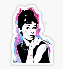 Audrey Hepburn - Street art - Watercolor - Popart style - Andy Warhol Jonny2may Sticker
