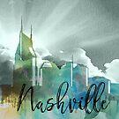 Nashville | Stadt Skyline | Buntes Aquarell von PraiseQuotes