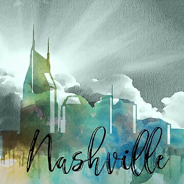 Nashville | CIty Skyline | Colorful Watercolor by PraiseQuotes