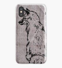 Fox on Burlap iPhone Case