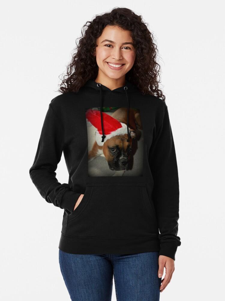 Alternative Ansicht von Dino ~ Santas kleiner Helfer ~ Boxer Dog Series Leichter Hoodie