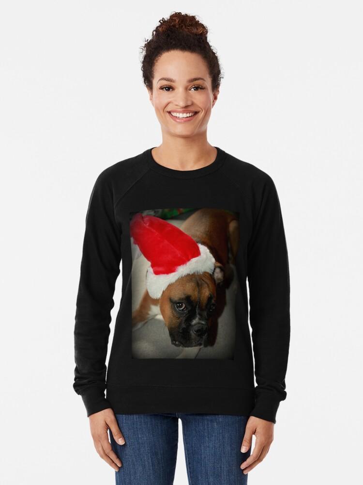 Alternative Ansicht von Dino ~ Santas kleiner Helfer ~ Boxer Dog Series Leichter Pullover
