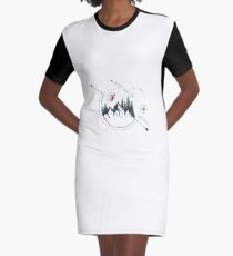 Nature. Mountains. Double Exposure. Geometric Style Graphic T-Shirt Dress