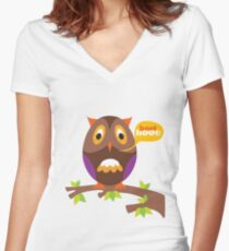 retro owl Women's Fitted V-Neck T-Shirt