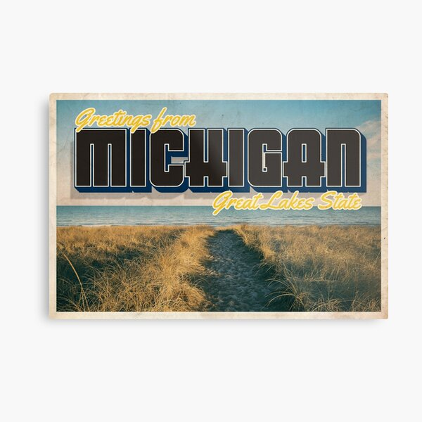 Greetings from Michigan - Vintage Travel Postcard Design Metal Print