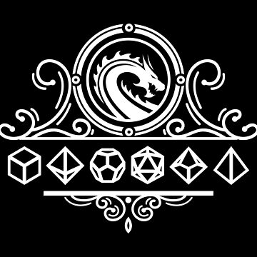 Polyhedral Dice and Dragons White Tabletop RPG by pixeptional