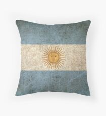 Old and Worn Distressed Vintage Flag of Argentina Throw Pillow