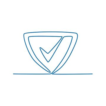 Shield With Check Mark Continuous Line by patrimonio