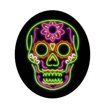 Sugar Skull Oval Neon Sign by patrimonio