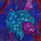Fish Family in Seaweed, Blue and Purple, Underwater by clipsocallipso