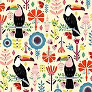 Colorful Toucans On Cream by TigaTiga