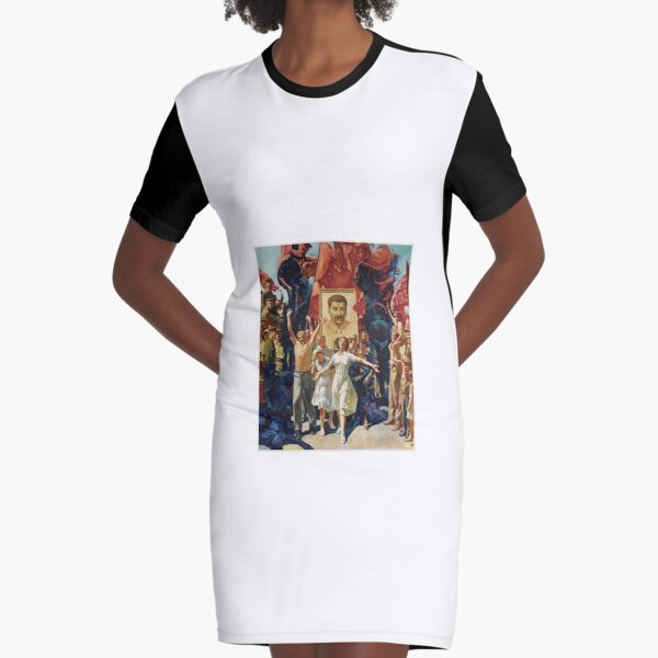 ALEKSANDR DUDIN, Russian, 20th Century, Demonstration, Dictatorship, diktatura, poster, modern art, people, art, painting, group, god, illustration, color image, males, women, men, imagination Graphic T-Shirt Dress