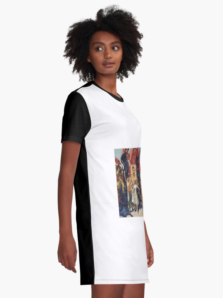 Alternate view of ALEKSANDR DUDIN, Russian, 20th Century, Demonstration, Dictatorship, diktatura, poster, modern art, people, art, painting, group, god, illustration, color image, males, women, men, imagination Graphic T-Shirt Dress