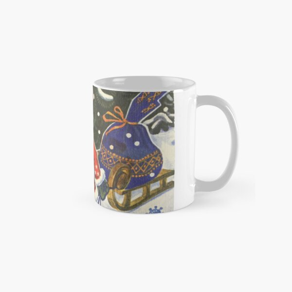 Santa Claus, Painting, Cartoon, christmas, winter, decoration, art, celebration, design, pattern, illustration, painting, snowman, snow, old, color image, old-fashioned, retro style, cards, tradition Classic Mug