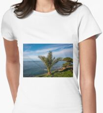 Palm on the Southern Mediterranean Coast of Italy Women's Fitted T-Shirt