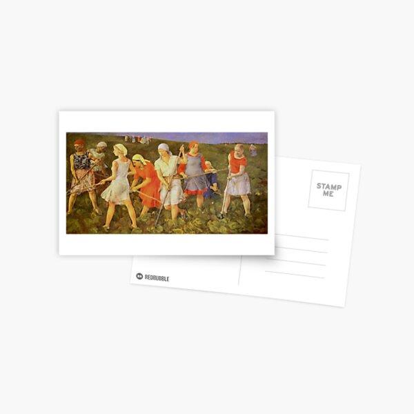 Soviet painter, Larisa Kirillova, Soviet Art, USSR, culture, Painting, Young adult, people, art, group, illustration, veil, renaissance, dress, color image, females, women, clothing, men, youth Postcard