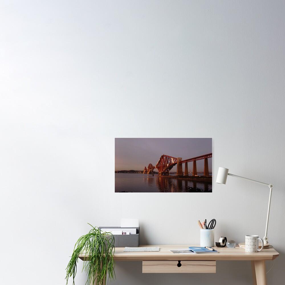 Red Bridge Sunset Poster