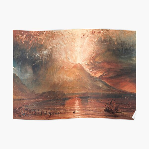 William Turner Vesuvius in Eruption Waterscape Art Poster