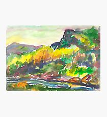 Rocky shore of the river in autumn Photographic Print