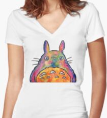 Cute Colorful Totoro! Tshirts + more! Jonny2may Women's Fitted V-Neck T-Shirt