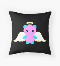 Angel bear - pink/blue Throw Pillow