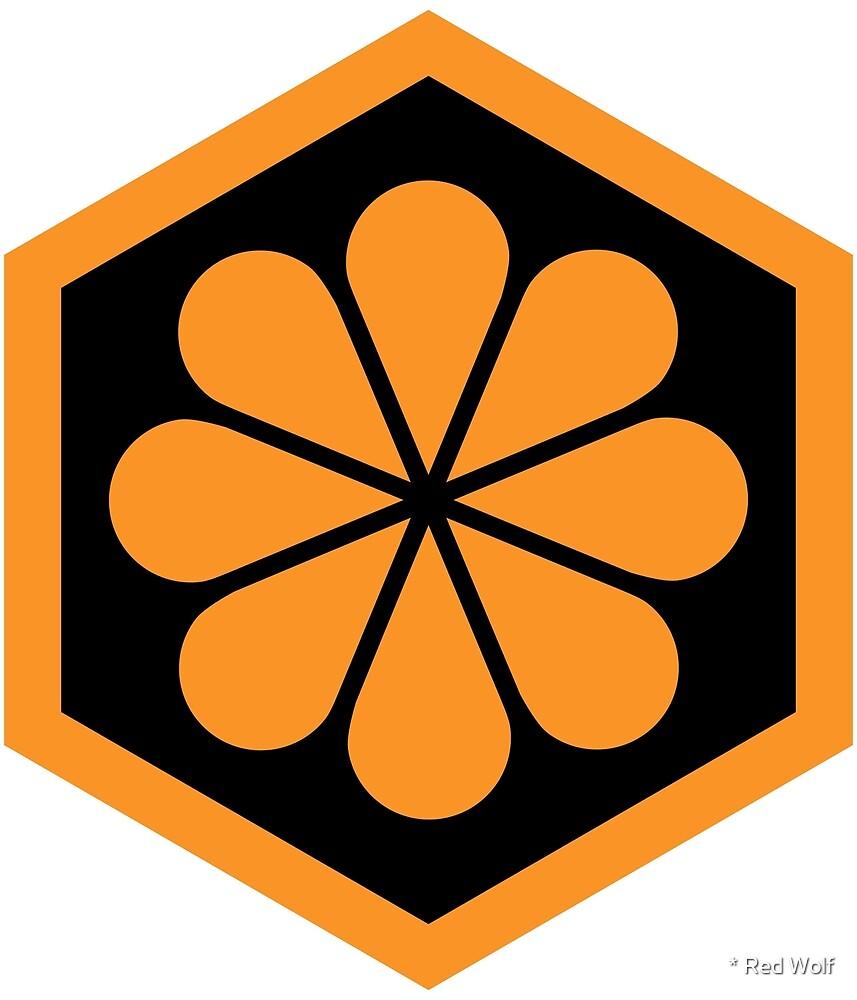 Geometric Pattern: Hexagon Flower: Black/Orange by * Red Wolf
