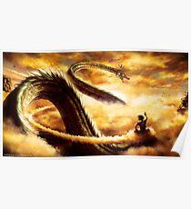 Goku flying with Shenron Poster