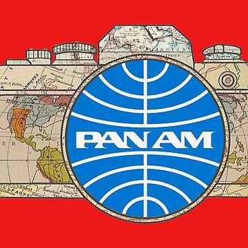 Map Camera with Pan Am Logo Vintage Travel Decal image in the Lens by Drewaw
