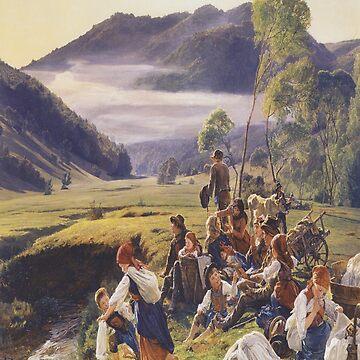 The pilgrims resting(Die rastenden Wallfahrer)-Ferdinand Georg Waldmüller by LexBauer
