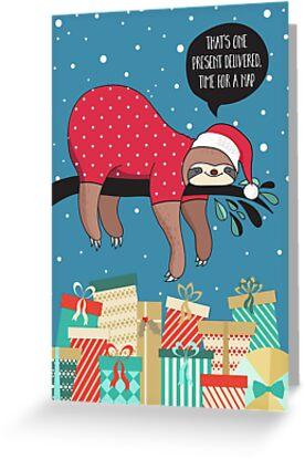 Lustige Weihnachtskarte - der Sloth Santa von Natalie Kinnear