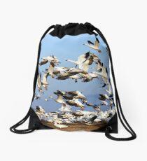 Snow Geese Take Flight Drawstring Bag