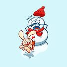 Naughty bunny stealing the carrot nose of a snowman by Zoo-co
