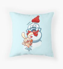 Naughty bunny stealing the carrot nose of a snowman Throw Pillow