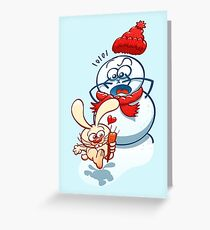 Naughty bunny stealing the carrot nose of a snowman Greeting Card