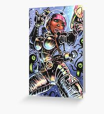 SPACE BABE VS SHADOW ALIENS Greeting Card