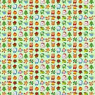 Christmas characters and ormanents in a colorful pattern by Zoo-co