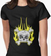 Skull & Crossbones Flaming Dark Women's Fitted T-Shirt