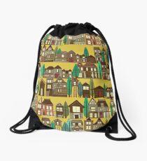 wooden buildings yellow gold Drawstring Bag