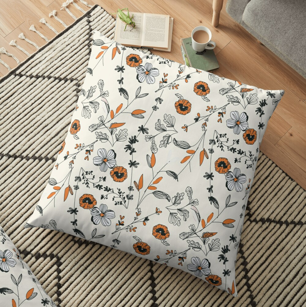 Orange Flower Pattern Floor Pillow