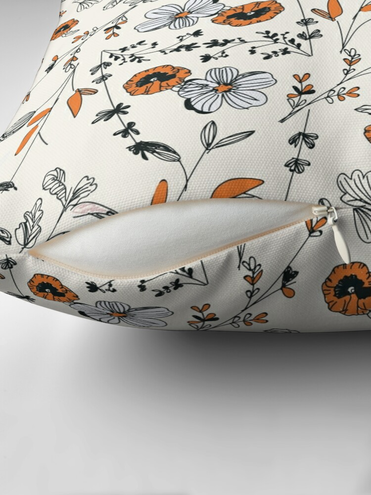 Alternate view of Orange Flower Pattern Floor Pillow