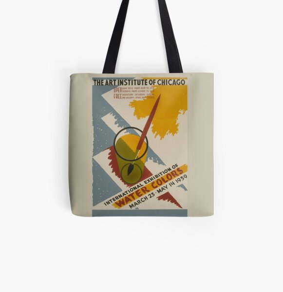 Chicago Watercolor Art Exhibition Vintage Poster All Over Print Tote Bag